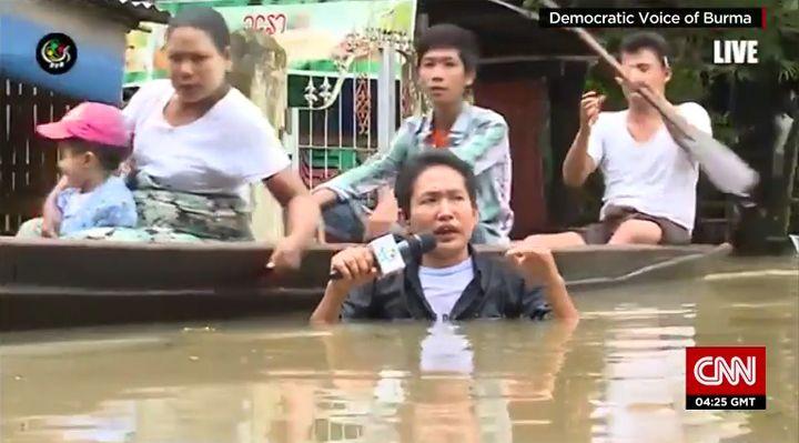 Overstromingen Myanmar augustus 2015