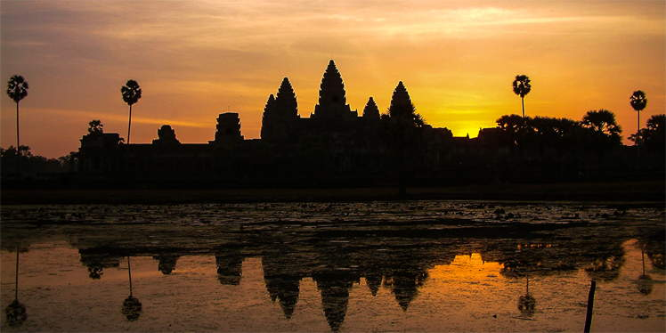 Zonsopgang bij Angkor Wat in Cambodja