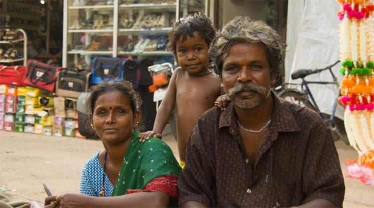 Familie in Alappuzha Kerala