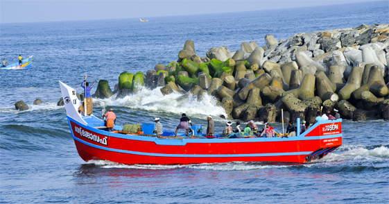 Vissersboot in Trivandrum India