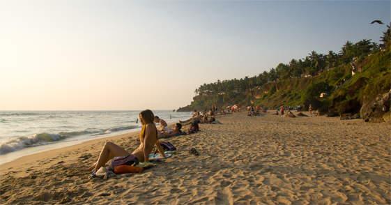 Het strand in Varkala Kerala
