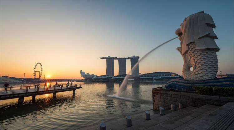 Uitzicht vanaf Merlion op het Singapore Flyer reuzenrad