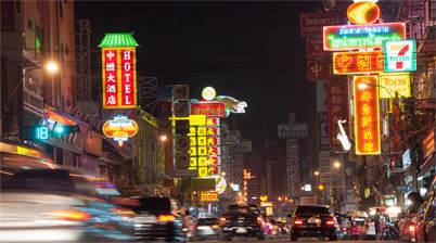 Yaowarat Road, Chinatown, 's avonds, neon verlichting