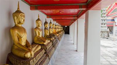 Gallerij bij Grand Palace en liggende boeddha, Royal Palace, Bangkok