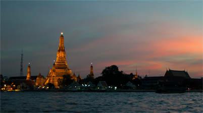 Zonsondergang, Wat Arun, tempel van de dageraad
