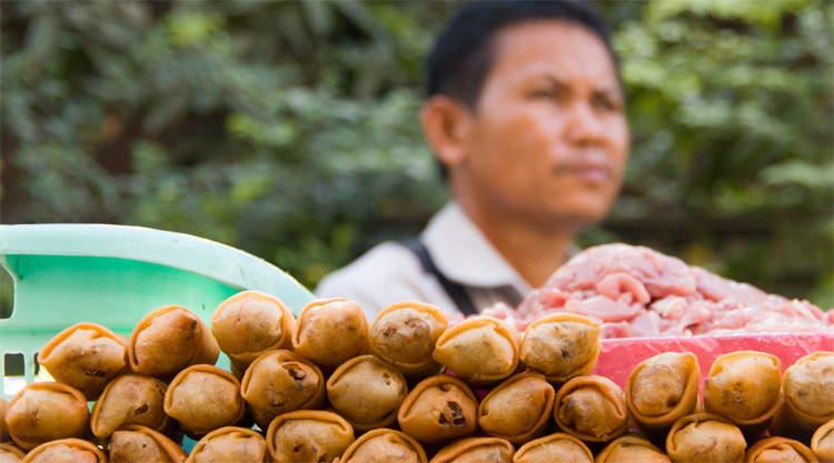 Loempia's op streetfood kar verkoper in Bangkok