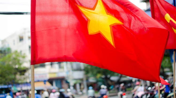 Vietnamse vlag in Ho Chi Minh City