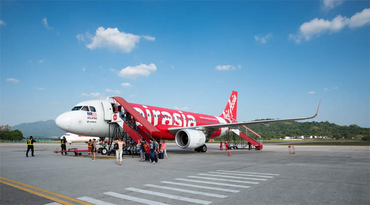 Vliegtuig van lowcost airline Air Asia